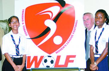 logo for the relaunch of the Women's League Football is displayed at Crowne Plaza, Wrighston Road, yesterday .. Photo: Dilip Singh.